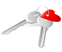two keys with red heart tag on the white background 60016015746| 写真素材・ストックフォト・画像・イラスト素材|アマナイメージズ