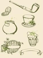 Vector vintage hand drawn  Saint Patrick's Day symbols 60016015864| 写真素材・ストックフォト・画像・イラスト素材|アマナイメージズ