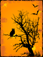Halloween background  with owl,tree and grunge background 60016015897  写真素材・ストックフォト・画像・イラスト素材 アマナイメージズ