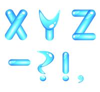Blue aquatic shiny alphabet