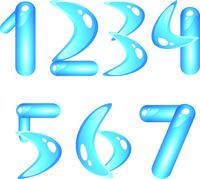 Blue aquatic shiny alphabet. Digits (part1)