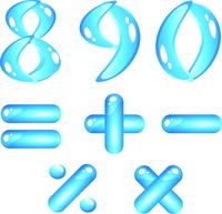 Blue aquatic shiny alphabet. Digits (part2)