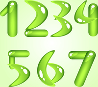 Green shiny alphabet. Digits (part 1)