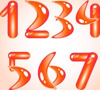 Red shiny alphabet. Digits