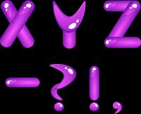 Violet shiny alphabet. Part 5