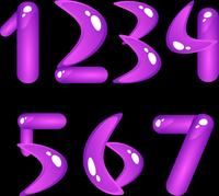 Violet shiny alphabet. Digits (part 1)