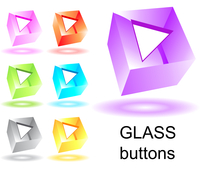 Set of glass cubic buttons with arrows 60016016155| 写真素材・ストックフォト・画像・イラスト素材|アマナイメージズ