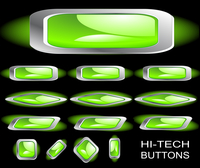 Hi-tech green buttons on a black background. Set 2