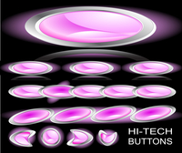Hi-tech pink buttons on a black background. Set 3