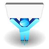Blue man sign keeping up a blank signboard 60016016568  写真素材・ストックフォト・画像・イラスト素材 アマナイメージズ