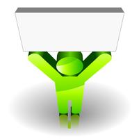 Green man sign keeping up a blank signboard 60016016571  写真素材・ストックフォト・画像・イラスト素材 アマナイメージズ