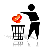 Conceptual icon with recycling sign and broken heart