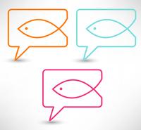 Christian religion symbol fish. Concept speech bubbles 60016016956| 写真素材・ストックフォト・画像・イラスト素材|アマナイメージズ