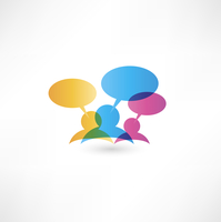 Colourfull chat balloon icons on whte background 60016017063| 写真素材・ストックフォト・画像・イラスト素材|アマナイメージズ