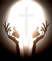 hand and christian cross silhouette 60016017178| 写真素材・ストックフォト・画像・イラスト素材|アマナイメージズ