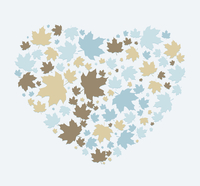 heart made out of maple leaves