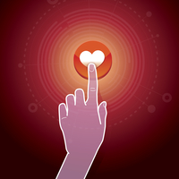Vector like concept - hand touching button with heart sign