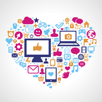 Vector social media concept - app and technology icons in shape of heart