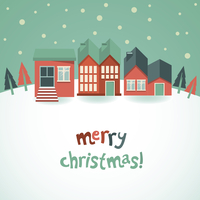 Vector greeting card with red houses and winter landscape - cartoon illustration