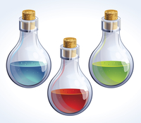 Vector set of three bottles with poison - in different colors 60016017318| 写真素材・ストックフォト・画像・イラスト素材|アマナイメージズ