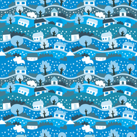 vector seamless pattern with winter village 60016017334| 写真素材・ストックフォト・画像・イラスト素材|アマナイメージズ