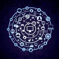 Vector social media concept - technology icons