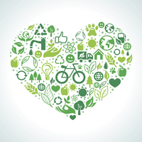 Vector ecology concept - heart design element made from icons and signs