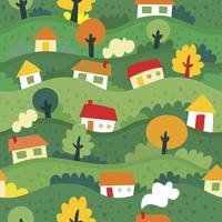 seamless pattern with village and houses - vector illustration 60016017380| 写真素材・ストックフォト・画像・イラスト素材|アマナイメージズ