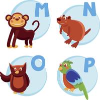 Vector funny cartoon alphabet - Monkey, Nutria, Owl, Parrot
