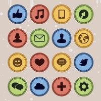 Set of social media badges in vintage style - vector illustration