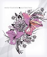 vector floral illustration of blooming gladioluses 60016017473| 写真素材・ストックフォト・画像・イラスト素材|アマナイメージズ