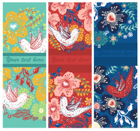 vector set of floral cards with blooming flowers and flying birds 60016017476| 写真素材・ストックフォト・画像・イラスト素材|アマナイメージズ