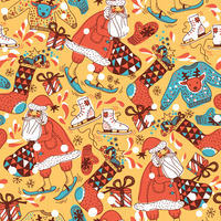 Christmas vector seamless pattern with skiing Santa and colored gifts 60016017482| 写真素材・ストックフォト・画像・イラスト素材|アマナイメージズ