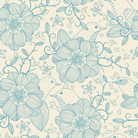 vector floral seamless pattern with birds and flowers 60016017486| 写真素材・ストックフォト・画像・イラスト素材|アマナイメージズ