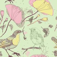 vector seamless pattern with birds and poppies 60016017487| 写真素材・ストックフォト・画像・イラスト素材|アマナイメージズ