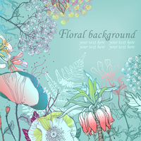 vector floral background with summer flowers 60016017491| 写真素材・ストックフォト・画像・イラスト素材|アマナイメージズ