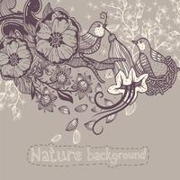vector illustration of birds and flowers on a beige background 60016017494| 写真素材・ストックフォト・画像・イラスト素材|アマナイメージズ