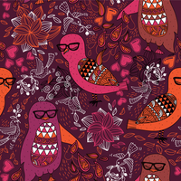 vector seamless pattern with colored owls and penguins