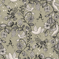 vector floral seamless pattern.You can change letters 'A' to your own logotype or monogram 60016017505| 写真素材・ストックフォト・画像・イラスト素材|アマナイメージズ