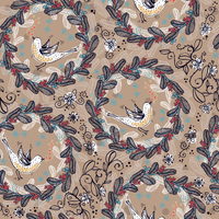 vector floral seamless pattern with birds and floral wreathes 60016017508| 写真素材・ストックフォト・画像・イラスト素材|アマナイメージズ