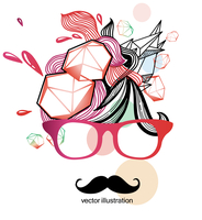 vector illustration of an abstract face with cartoon mustache  in red glasses