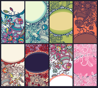 vector collection of colorful floral cards 60016017514| 写真素材・ストックフォト・画像・イラスト素材|アマナイメージズ
