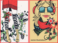 vector set of Christmas and New Year's  cards with fashion cirls 60016017545| 写真素材・ストックフォト・画像・イラスト素材|アマナイメージズ