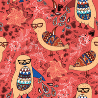 vector seamless pattern with colored owls and penguins on a floral background