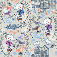 vector seamless pattern with cartoon foxes and vintage houses