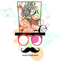 vector illustration of an abstract man in red glasses