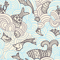 vector seamless pattern with abstract waves and fishes