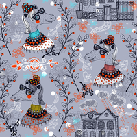 vector seamless pattern with funny horses and vintage houses