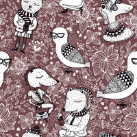 vector seamless pattern with cartoon animals on a floral background