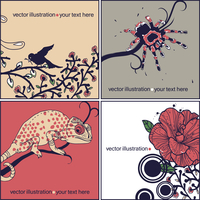 vector set of animal cards with a spider, blooming flowers and a spotted chameleon sitting on a tree